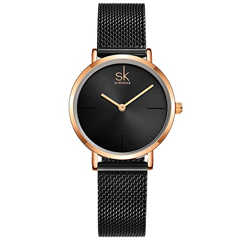 Gold Ladies Watch Band (SK Best Watches for Women Stainless Steel Band Ladies Wrist Watch Winder Women for Sale Bracelet Quartz Discount Watch (Black))