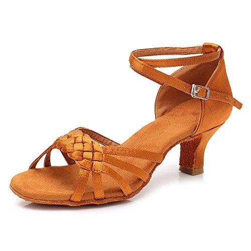 HIPPOSEUS Zapatillas de Baile Latino para Mujer Altura del Tacón 5CM/7CM, Modelo ESQLP1218 5cm Marrón