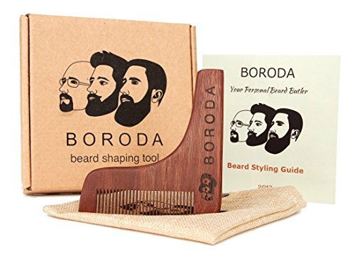 BORODA Beard and Mustache Wooden Shaping Tool & Comb, Beard Styling & Styler Template, Wood Beard Trimmer for Perfect Goatee Lines, Detailed Styling Guide & PREMIUM Packaging Kit,Set for Men Best Gift