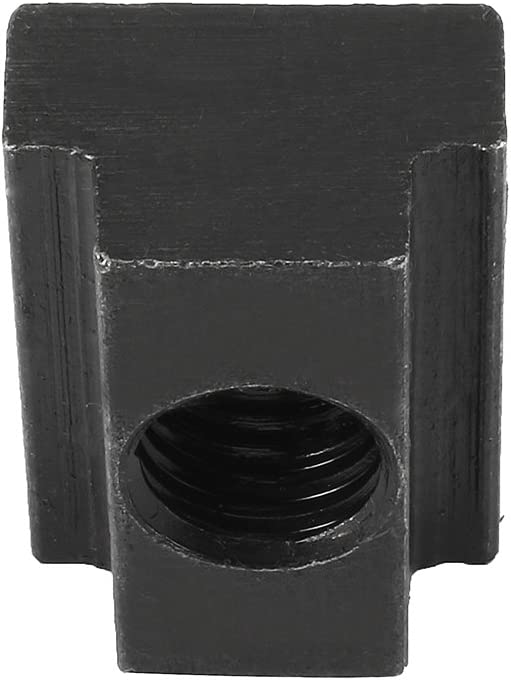 Aexit M12 Thread Nuts T-Slot Nut Black Oxide Plated Grade 8.8 Tapped T-Slot Nuts Through 5pcs