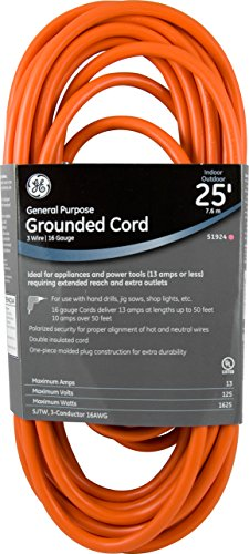 Ext Indoor Cord (Indoor/Outdoor 25-Foot General Purpose Grounded Extension Cord, Orange 51924)