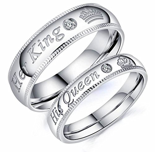 Mintik Her King His Queen Ring Stainless Steel Wedding Band Set His and Hers Couples Anniversary Engagement Promise Ring (Ring Hers Set)