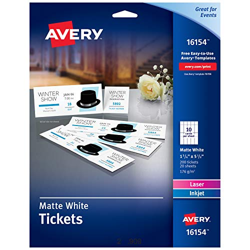 Avery Blank Printable Tickets, Tear-Away Stubs, Perforated Raffle Tickets, Pack of 200 - Perforated Tear