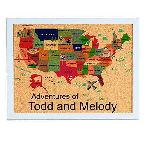 Personalized Cork Board Map of USA with Landmarks, Adventures of (with White Frame)