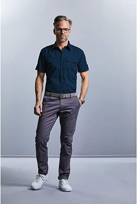 Russell Collection Mens Short//Roll-Sleeve Work Shirt