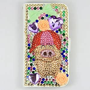Handmade Luxury Bling crystal happy pig PU leather skin cover case for Samsung Galaxy S4 IV i9500 supersupplier2013