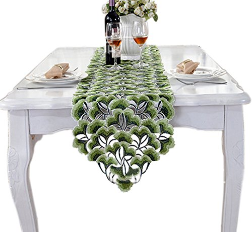 Yoovi Floral Embroiedered Cutwork Spring Table Runner Tapest