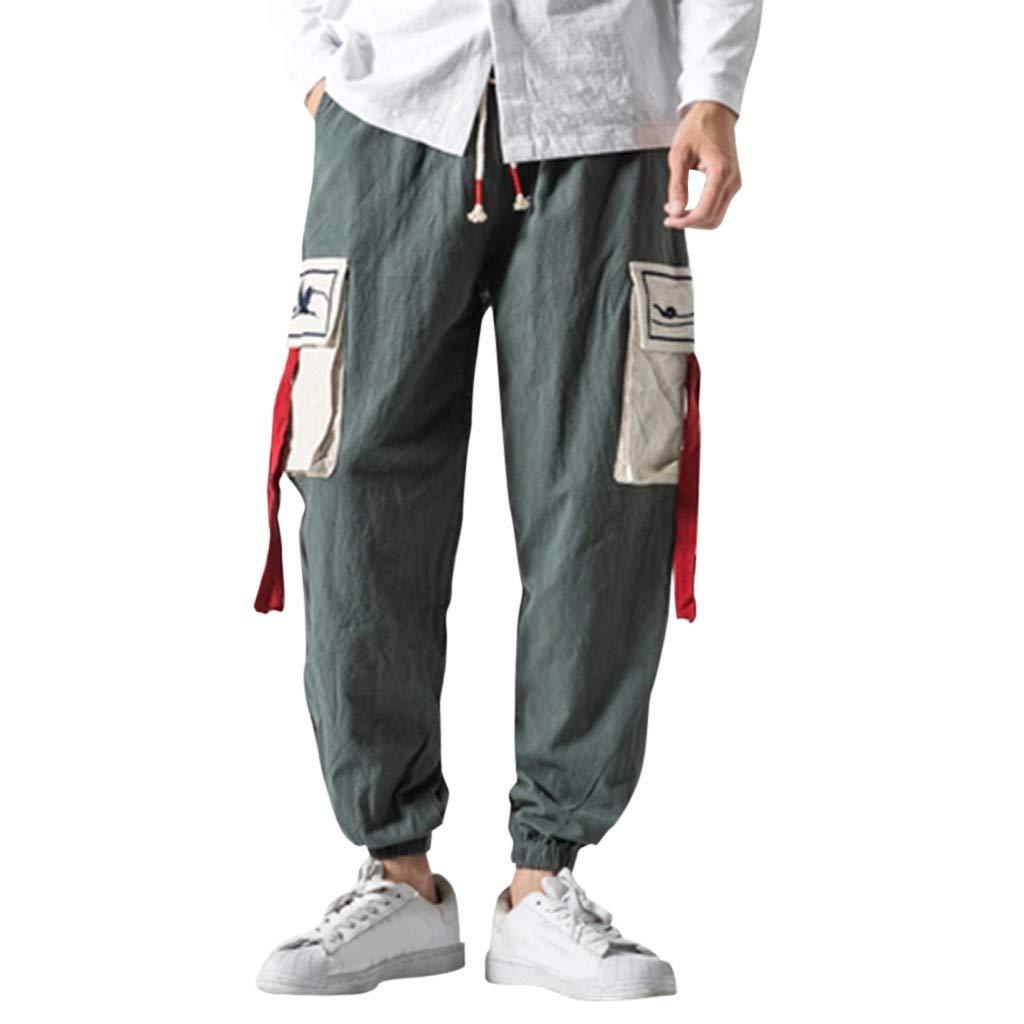 ZOMUSAR Men's Short-Legged Trousers for Leisure Overalls Fashion Retro Trouser for Men Gray
