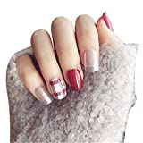 JINDIN 24 Sheet Fake Nails for Women Short Designs Acrylic False Nail Art Tip Full Cover Decors Wine Red and Silver