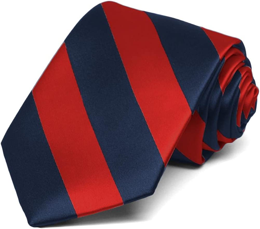 Red Navy Jacob Alexander Stripe Woven Boys 14 College Striped Zipper Tie