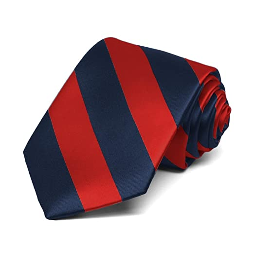 19428684fc44d TieMart Boys' Red and Navy Blue Striped Tie