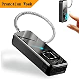 SZHSR Fingerprint Lock New Generation Portable Fingerprint Padlock Travel Security 360 ° Touch 1 Second Unlock,More Sensitive Waterproof For Bags,Suitcases,Handbags,School Bags,Cabinets(Black)