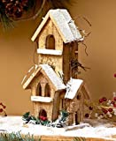 SB Goods Lighted Wood Winter Houses Covered Roof Evergreen Foliage Battery operated