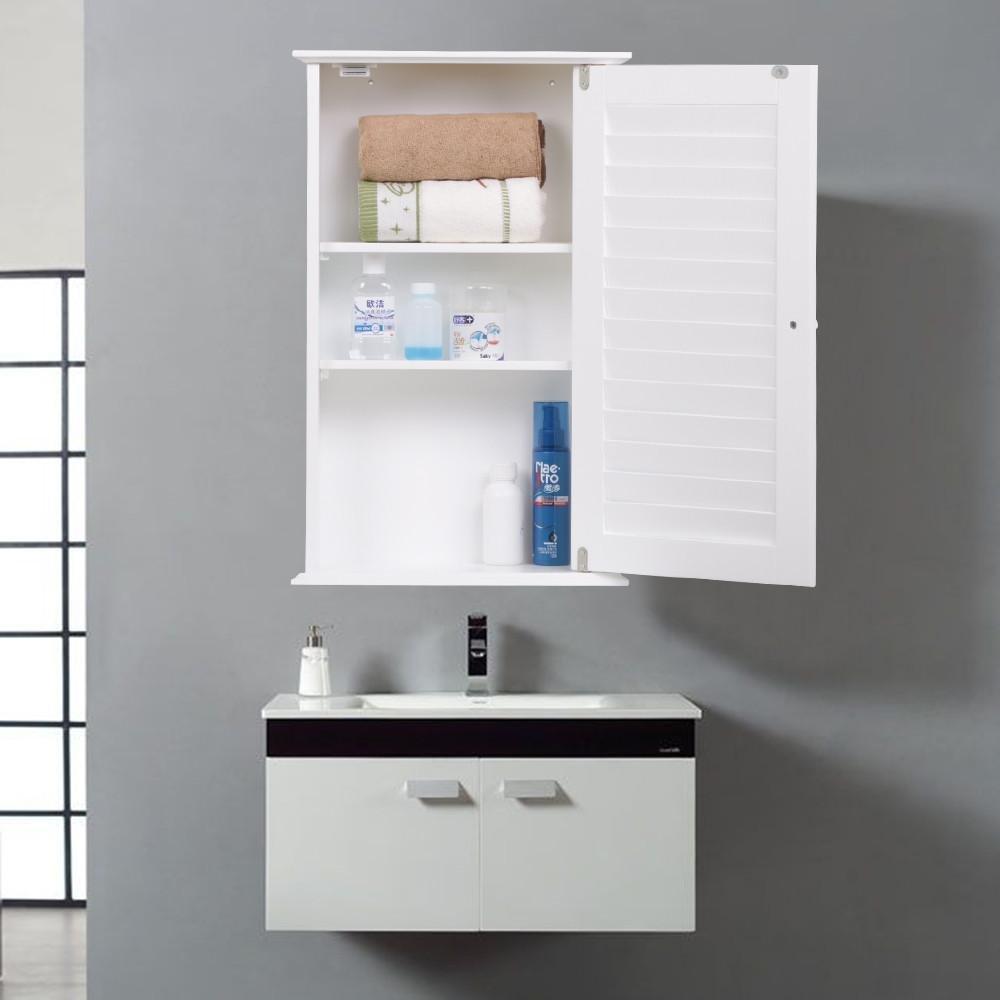 Yaheetech White Wood Bathroom Wall Mount Cabinet Toilet Medicine Storage Organizer Single Door with Adjustable Shelves