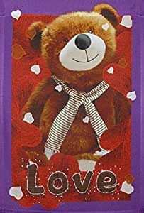 "Bear Love Valentine's Day Garden Flag Teddy Hearts 12"" x 18"" Designed by Yerkes"
