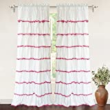 "DriftAway Pom Pom Ruffle Window Curtain, Rod Pocket, Single Panel, One Panel, 52""x84"" Plus 2"" Header (Pink)"