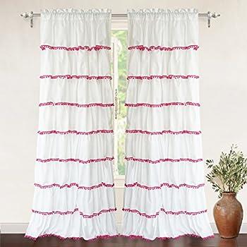 "DriftAway Drift Away Pom Pom Ruffle Window Curtain, Single Panel, One Panel, 52""x84"" Plus 2"