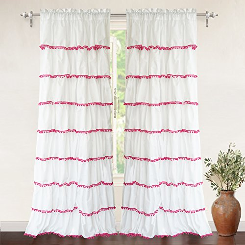 Pom Pom Ruffle Window Curtain