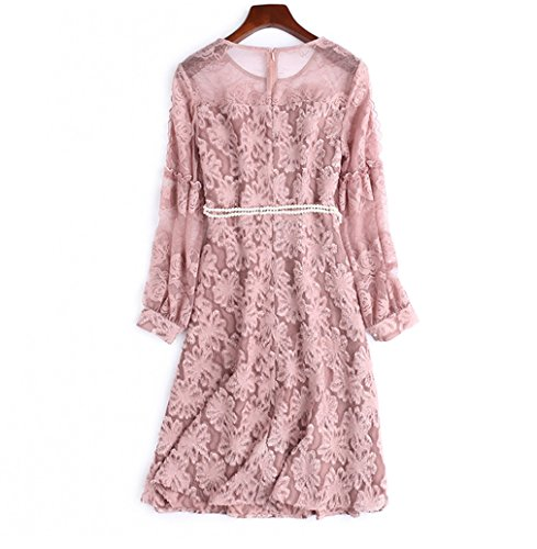 Waist Sleeve Color Dress Lantern Scoop Women High cotyledon with Belt Solid Dresses for Neck Short Mesh TqTvg