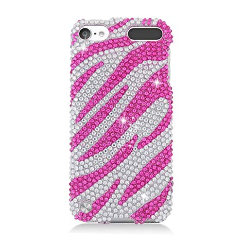 Insten Zebra Rhinestone Diamond Bling Hard Snap-in Case Cover Compatible with Apple iPod Touch 5th Gen, Hot Pink/Silver