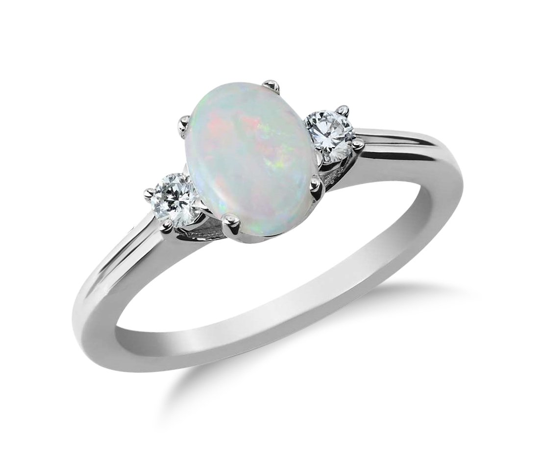 Genuine Opal and Diamond Ring in Sterling Silver (6)