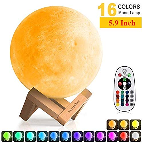 (3D Moon Lamp (Diameter 5.9 inch), Keenstone 16 Colors 3D Print Moon Light Home Decorative Lights Night Light with Remote & Touch Control and USB Recharge for Baby Kids Lover)