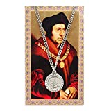 Saint St Thomas More 3/4-inch Pewter Medal Pendant Necklace with Holy Card