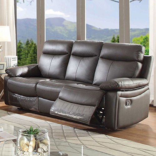 AC Pacific Ryker Collection Contemporary Upholstered Reclining Leather Sofa with Dual Recliners, Dark Brown