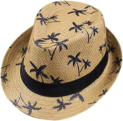 a32f82691aa Women Men Retro Floppy Maple Leaf Straw Fedora Wide Brim Beach Sun Summer  Hat Cap