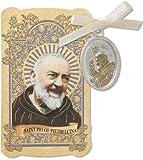 Catholic Gift Prayer Folder with Patron Saint St Padre Pio of Pietrelcina Tu Silver Tone Charm Medal Pendant