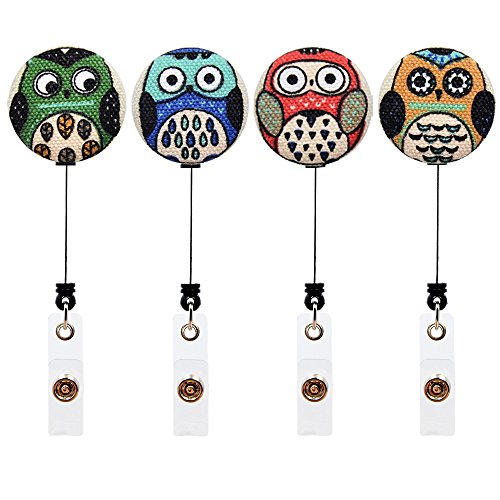 Qinsuee Cartoon Owl Retractable ID/Name Badge Holder with Alligator Clip, 4 Pack
