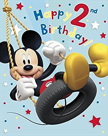 Amazon.com : Mickey Mouse Happy 2Nd Birthday ! Large Birthday Card ...