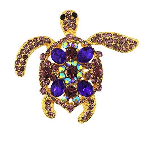 Gold Wedding Broach Hijab Pin Vintage Jewelry Brooch Bouquet Tortoise Turtle Lapel (Vintage Turtle Brooch)