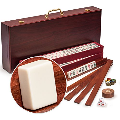 Yellow Mountain Imports American Mahjong Set, Classic Royalle II with Redwood Case - Four All-in-One Racks with Pushers, Wind Indicator, Dice, & Wright Patterson Counting Coins ()