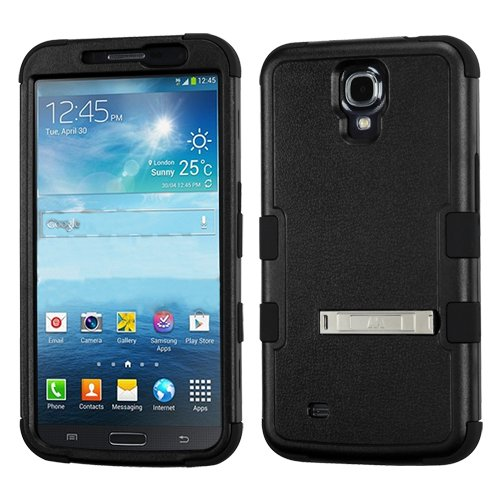 Kaleidio [Mybat Natural TUFF] Armor Dual Layer Hybrid Case with Metal Kickstand for Samsung Galaxy Mega 6.3 [Package Includes a Overbrawn Prying Tool & Stylux Stylus/Pen Dust Plug Combo] - Retail Packaging [Black/Black]