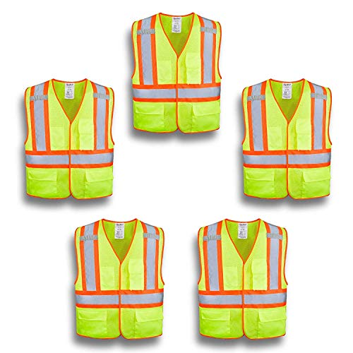 XSHIELD XS0100,High Visibility Safety Vest with Silver Stripe,ANSI/ISEA 107-2015 Type R Class2 Not FR,Pack of 5 (L, Yellow)