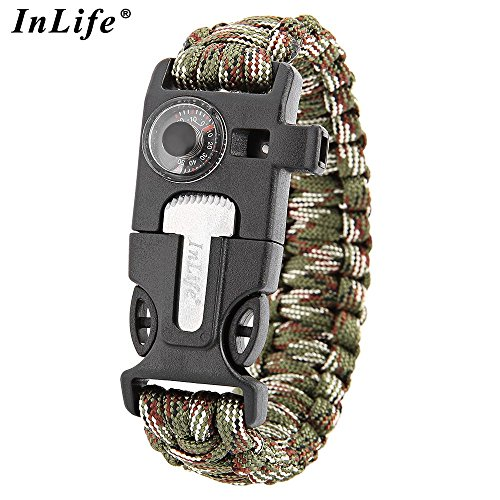 12' Compass Saw (Wooboo 5 in 1 Outdoor Survival Gear Escape Paracord Bracelet Flint Whistle Compass Scraper(Camouflage))
