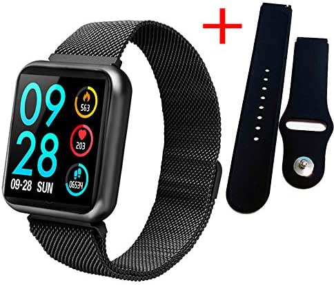 GLO BUY P70 30M Waterproof Fashion Smart Watch Ladies with Heart Rate Monitor Blood Pressure Oximetry Activity Tracker Fitness,Black