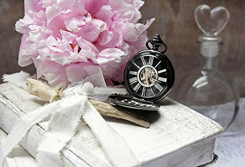 Home Comforts LAMINATED POSTER Pocket Watch Peony Worn Books Heart Bottle Flacon Poster Print 24x16 Adhesive Decal (Bottle Flacon)