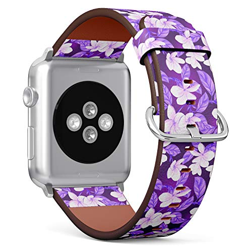 Compatible with Big Apple Watch 42mm & 44mm Leather Watch Wrist Band Strap Bracelet with Stainless Steel Clasp and Adapters (White - Clasp Plumeria
