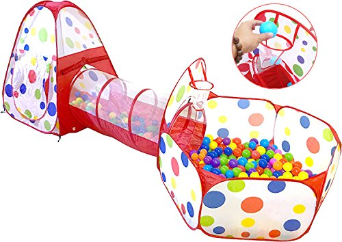 3 In 1 Ball Pit Pop up Tent Toddler Christmas Gift Hide-and-Seek with Crawl Tunnel Basketball Hoop, Indoors and Outdoors for Kids, Babies and Toddlers Crawling and Playing, with Zippered Storage Bag