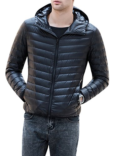 Quilted Padded Duck Filled With Hood Black Coat Down Down Light Puffer Hoodie Teenager Jacket Yasong Weight Men qIWwAptAF