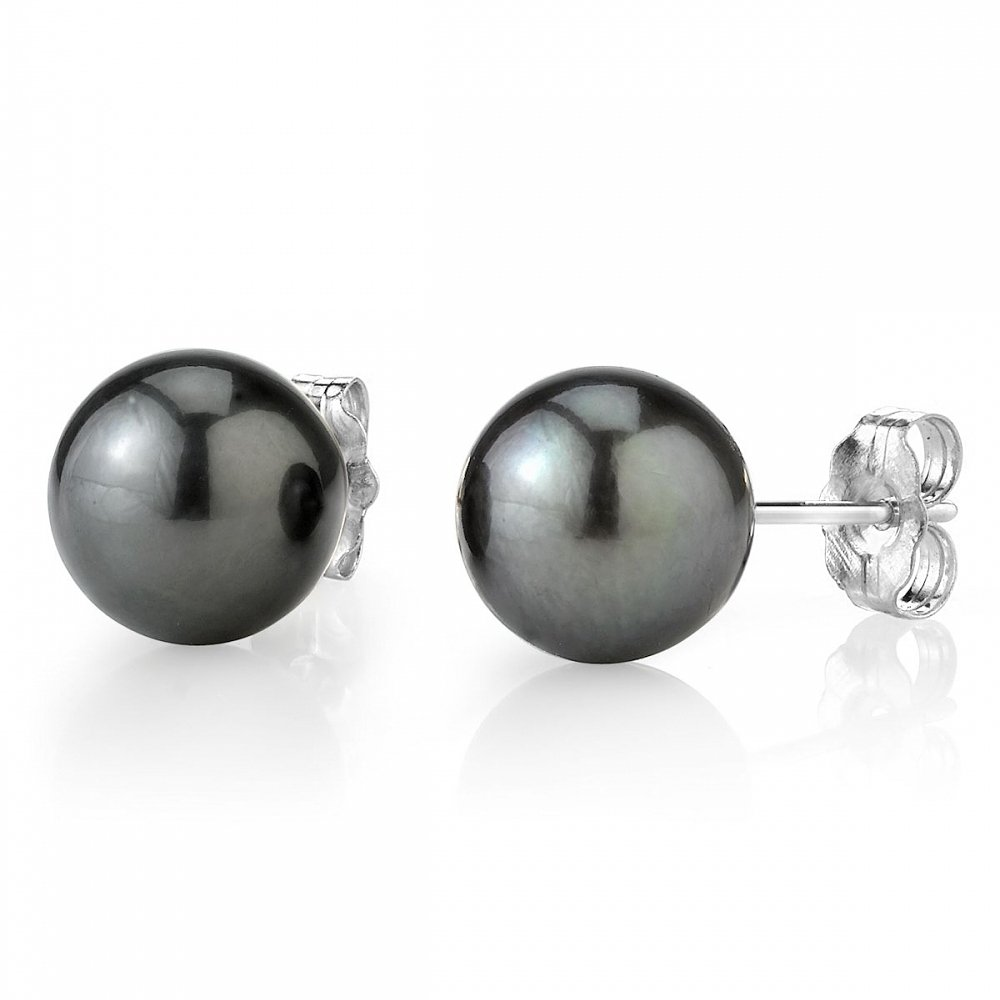 THE PEARL SOURCE 14K Gold 11-12mm Round Tahitian South Sea Cultured Pearl Stud Earrings for Women by The Pearl Source