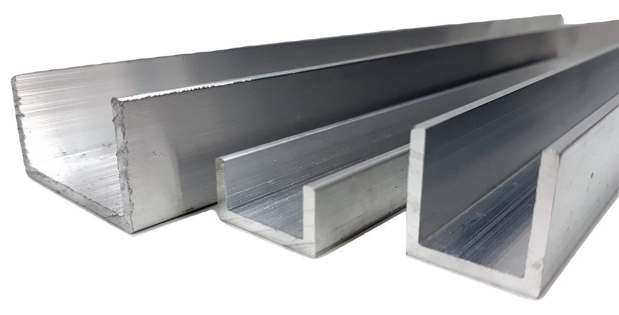 8 mm x 8 mm x 1 mm x 2000 mm Secci/ón de canal en U de aluminio