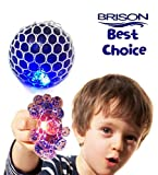 Upgraded Led Anti-Stress Ball - Squishy Light up Ball - Anti Stress Toys - Toys for Kids - Mesh Stress Ball - Grape Ball - DNA Ball-Slime Stress Ball - ADHD Fidget Toys-Net Stress Squishy Ball.