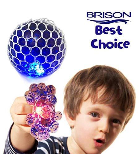 Upgraded Led Anti-Stress Ball - Squishy Light up Ball - Anti Stress Toys - Toys for Kids - Mesh Stress Ball - Grape Ball - DNA Ball-Slime Stress Ball - ADHD Fidget Toys-Net Stress Squishy Ball.