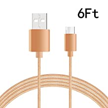 USB Type C-C Cable, NOKEA Braided Micro USB 2.0 Type C (USB-C) to Type C, for New Macbook 12'', Chromebook Pixel, Nexus 5/ 6p, OnePlus 2, Lumia 950/ 950XL, Nokia N1 and more (Gold 6ft)