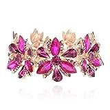 Women's Flower Blossom Glass Stone Fashion Stretch Bracelet in Fuchsia