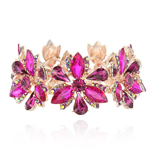 Women's Flower Blossom Glass Stone Fashion Stretch Bracelet in Fuchsia - Jewelry Pink Rhinestone