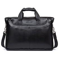 BOSTANTEN Leather Laptop Briefcase with Messenger Bag for Men
